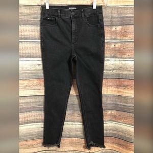 Express high rise raw hem skinny jeans